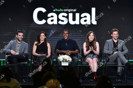 """Zander Lehmann, from left, Michaela Watkins, Nyasha Hatendi, Tara Lynne Barr and Tommy Dewey attend the """"Casual"""" panel at the Hulu portion of the 2017 Winter Television Critics Association press tour on in Pasadena, Calif"""