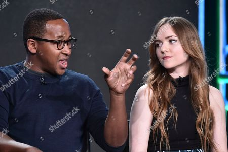 """Nyasha Hatendi, left, and Tara Lynn Barr attend the """"Casual"""" panel at the Hulu portion of the 2017 Winter Television Critics Association press tour on in Pasadena, Calif"""