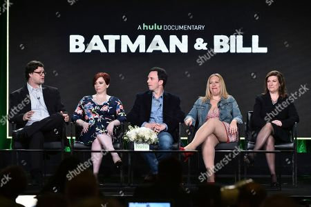 """Don Argott, from left, Sheena Joyce, Marc Tyler Nobleman, Athena Finger and Alethia Mariotta attend the """"Batman and Bill"""" panel at the Hulu portion of the 2017 Winter Television Critics Association press tour on in Pasadena, Calif"""
