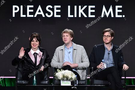 """Stock Picture of Emily Barclay, from left, Josh Thomas and Thomas Ward attend the """"Please Like Me"""" panel at the Hulu portion of the 2017 Winter Television Critics Association press tour on in Pasadena, Calif"""