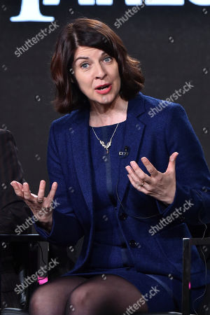 """Moira Buffini attends the """"Harlots"""" panel at the Hulu portion of the 2017 Winter Television Critics Association press tour on in Pasadena, Calif"""