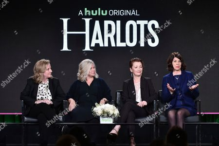 "Debra Hayward, from left, Alison Owen, Lesley Manville and Moira Buffini attend the ""Harlots"" panel at the Hulu portion of the 2017 Winter Television Critics Association press tour on in Pasadena, Calif"