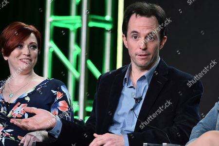 """Sheena Joyce, left, and Marc Tyler Nobleman attend the """"Batman and Bill"""" panel at the Hulu portion of the 2017 Winter Television Critics Association press tour on in Pasadena, Calif"""