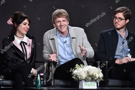 """Emily Barclay, from left, Josh Thomas and Thomas Ward attend the """"Please Like Me"""" panel at the Hulu portion of the 2017 Winter Television Critics Association press tour, in Pasadena, Calif"""