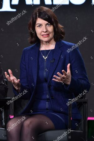 """Stock Picture of Moira Buffini attends the """"Harlots"""" panel at the Hulu portion of the 2017 Winter Television Critics Association press tour on in Pasadena, Calif"""