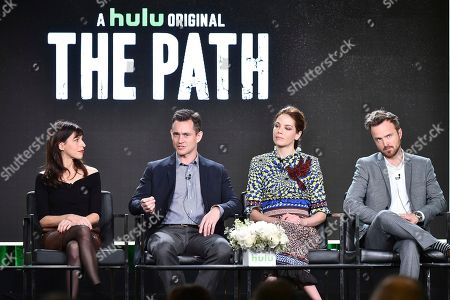 """Jessica Goldberg, from left, Hugh Dancy, Michelle Monaghan and Aaron Paul attend the """"The Path"""" panel at the Hulu portion of the 2017 Winter Television Critics Association press tour on in Pasadena, Calif"""