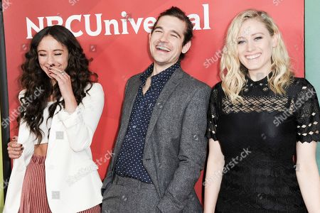 Stella Maeve, Jason Ralph, Olivia Taylor Dudley attend the NBCUniversal portion of the 2017 Winter Television Critics Association press tour, in Pasadena, Calif
