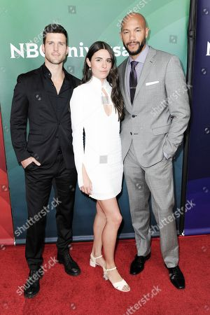 Parker Young, from left, Marianne Rendon and Stephen Bishop attend the NBCUniversal portion of the 2017 Winter Television Critics Association press tour, in Pasadena, Calif