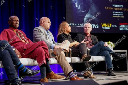 """Louis Gossett Jr., from left, Colin Johnson, Rita Coburn Whack, and Bob Hercules speak at the PBS's American Masters """"Maya Angelou: And Still I Rise"""" panel at the 2017 Television Critics Association press tour, in Pasadena, Calif"""