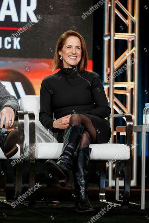 "Lynn Novick speaks at the PBS's ""The Vietnam War"" panel at the 2017 Television Critics Association press tour, in Pasadena, Calif"
