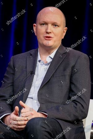 """Mike Bartlett speaks at the PBS's Masterpiece series """"King Charles III"""" panel at the 2017 Television Critics Association press tour, in Pasadena, Calif"""