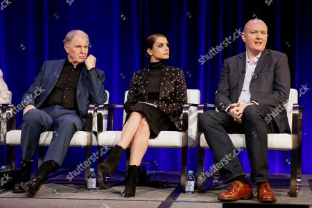 """Tim Pigott-Smith, from left, Charlotte Riley, and Mike Bartlett speak at the PBS's Masterpiece series """"King Charles III"""" panel at the 2017 Television Critics Association press tour, in Pasadena, Calif"""