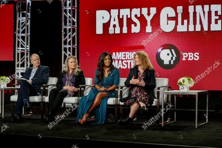 """Michael Kantor, from left, Beverly D'Angelo, Mickey Guyton, and Barbara Hall speak at the PBS's American Masters """"Patsy Clyne"""" panel at the 2017 Television Critics Association press tour, in Pasadena, Calif"""