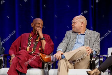 """Louis Gossett Jr., left, and Colin Johnson speak at the PBS's American Masters """"Maya Angelou: And Still I Rise"""" panel at the 2017 Television Critics Association press tour, in Pasadena, Calif"""