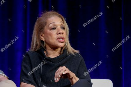 """Stock Picture of Rita Coburn Whack speaks at the PBS's American Masters """"Maya Angelou: And Still I Rise"""" panel at the 2017 Television Critics Association press tour, in Pasadena, Calif"""