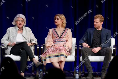 """Rebecca Eaton, from left, Stefanie Martini, and Sam Reid speak at the PBS's Masterpiece series """"Prime Suspect"""" panel at the 2017 Television Critics Association press tour, in Pasadena, Calif"""