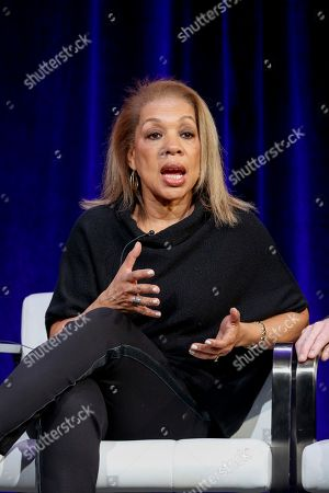"Rita Coburn Whack speaks at the PBS's American Masters ""Maya Angelou: And Still I Rise"" panel at the 2017 Television Critics Association press tour, in Pasadena, Calif"