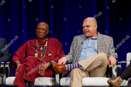 "Louis Gossett Jr., left, and Colin Johnson speak at the PBS's American Masters ""Maya Angelou: And Still I Rise"" panel at the 2017 Television Critics Association press tour, in Pasadena, Calif"