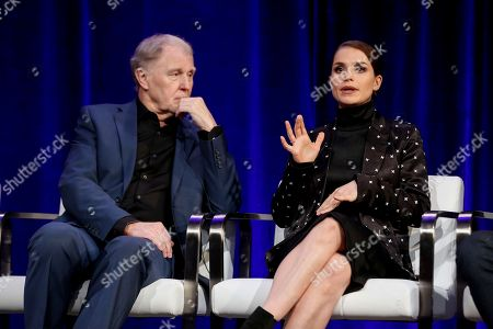"""Tim Pigott-Smith, left, and Charlotte Riley speak at the PBS's Masterpiece series """"King Charles III"""" panel at the 2017 Television Critics Association press tour, in Pasadena, Calif"""