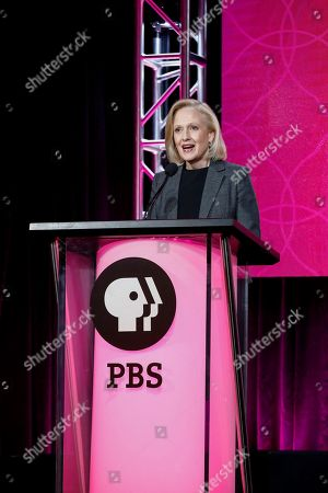 President and CEO Paula Kerger speaks at the PBS Executive Session at the 2017 Television Critics Association press tour, in Pasadena, Calif