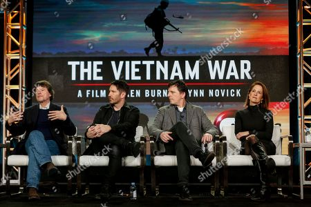 "Ken Burns, from left, Trent Reznor, Atticus Ross, and Lynn Novick speak at the PBS's ""The Vietnam War"" panel at the 2017 Television Critics Association press tour, in Pasadena, Calif"
