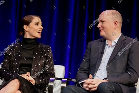 """Charlotte Riley, left, and Mike Bartlett speak at the PBS's Masterpiece series """"Prime Suspect"""" panel at the 2017 Television Critics Association press tour, in Pasadena, Calif"""