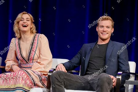 "Stefanie Martini, left, and Sam Reid speak at the PBS's Masterpiece series ""Prime Suspect"" panel at the 2017 Television Critics Association press tour, in Pasadena, Calif"