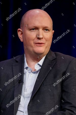 """Stock Photo of Mike Bartlett speaks at the PBS's Masterpiece series """"King Charles III"""" panel at the 2017 Television Critics Association press tour, in Pasadena, Calif"""