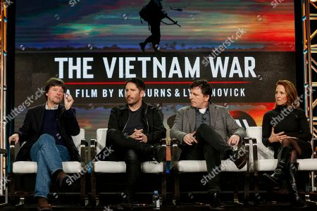"Ken Burns, from left, Trent Reznor, Atticus Ross and Lynn Novick speak at PBS' ""The Vietnam War"" panel at the 2017 Television Critics Association press tour, in Pasadena, Calif"