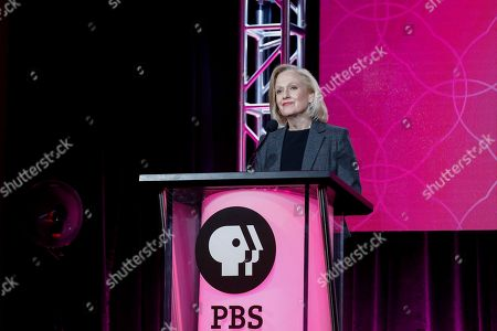 President and CEO Paula Kerger speaks at the PBS's Executive Session at the 2017 Television Critics Association press tour, in Pasadena, Calif