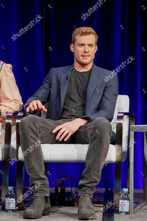 "Sam Reid speaks at the PBS's Masterpiece series ""Prime Suspect"" panel at the 2017 Television Critics Association press tour, in Pasadena, Calif"