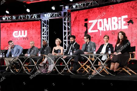 "Rob Thomas, from left, David Anders, Malcolm Goodwin, Rose McIver, Rahul Kohli, Robert Buckley, Alyson Michalka and Diane Ruggiero attend the ""iZombie"" panel at The CW portion of the 2017 Winter Television Critics Association press tour, in Pasadena, Calif"