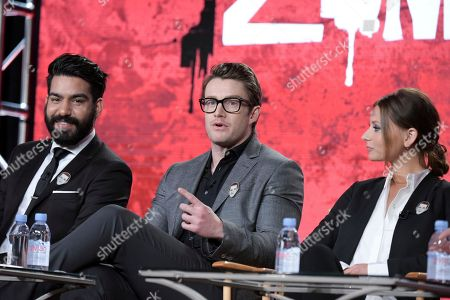 "Rahul Kohli, from left, Robert Buckley and Aly Michalka attend ""iZombie"" panel at The CW portion of the 2017 Winter Television Critics Association press tour, in Pasadena, Calif"