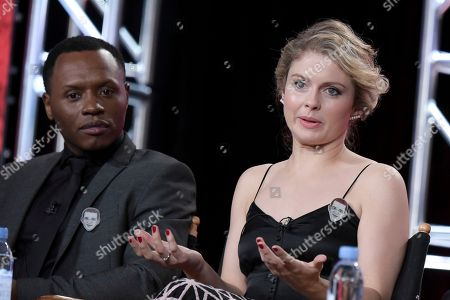 """Malcolm Goodwin, left, and Rose McIver attend the """"iZombie"""" panel at The CW portion of the 2017 Winter Television Critics Association press tour, in Pasadena, Calif"""