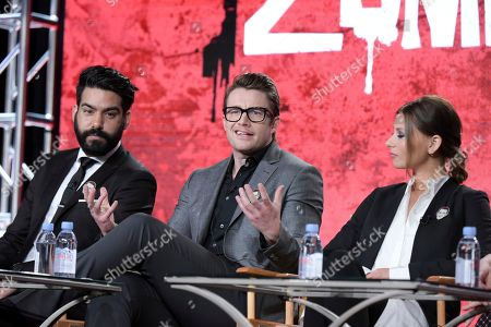"Stock Photo of Rahul Kohli, from left, Robert Buckley and Aly Michalka attend ""iZombie"" panel at The CW portion of the 2017 Winter Television Critics Association press tour, in Pasadena, Calif"