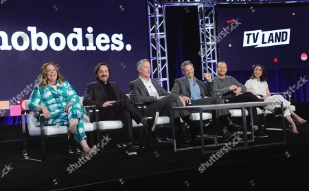 """Executive producers Melissa McCarthy, from left, and Ben Falcone, executive producer/showrunner Michael McDonald, Hugh Davidson, Larry Dorf and Rachel Ramras attend the """"Nobodies"""" panel at Viacom's TV Land portion of the Winter Television Critics Association press tour, in Pasadena, Calif"""