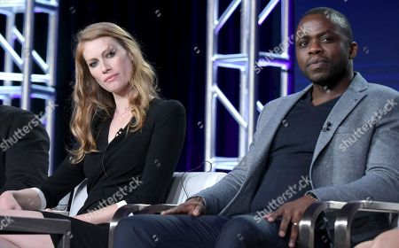 """Alyssa Sutherland, left, and Okezie Morro attend """"The Mist"""" panel at Viacom's Spike TV portion of the Winter Television Critics Association press tour, in Pasadena, Calif"""