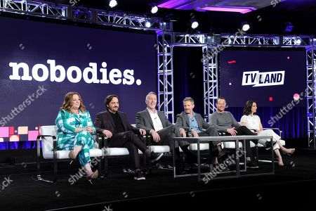 """Executive producers Melissa McCarthy, from left, Ben Falcone, executive producer/showrunner Michael McDonald, Hugh Davidson, Larry Dorf and Rachel Ramras attend the """"Nobodies"""" panel at Viacom's TV Land portion of the Winter Television Critics Association press tour, in Pasadena, Calif"""
