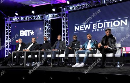 """Executive producer Jesse Collins, from left, director Chris Robinson, Antoine Harris, Woody McClain, Elijah Kelley, Algee Smith and Keith Powers attend """"The New Edition Story"""" panel at Viacom's BET portion of the Winter Television Critics Association press tour, in Pasadena, Calif"""