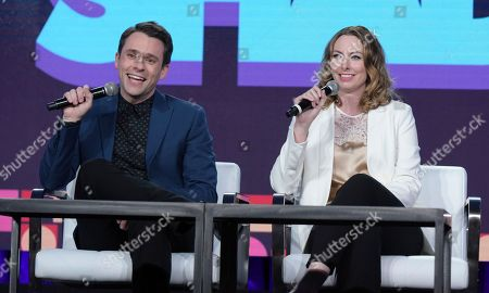 """Bryan Safi, left, and Erin Gibson attend the """"Throwing Shade"""" panel at Viacom's Comedy Central portion of the Winter Television Critics Association press tour, in Pasadena, Calif"""
