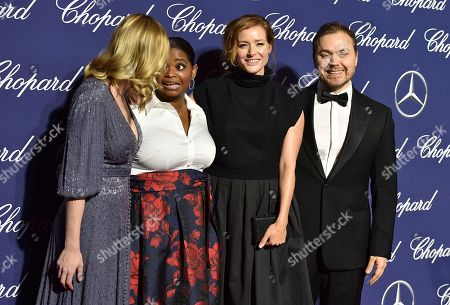 Kirsten Dunst, from left, Octavia Spencer, Kimberly Quinn and Theodore Melfi arrive at the 28th annual Palm Springs International Film Festival Awards Gala, in Palm Springs, Calif