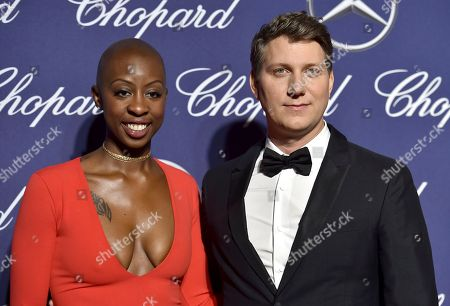 Oge Egbuonu, left, and Jeff Nichols arrive at the 28th annual Palm Springs International Film Festival Awards Gala, in Palm Springs, Calif