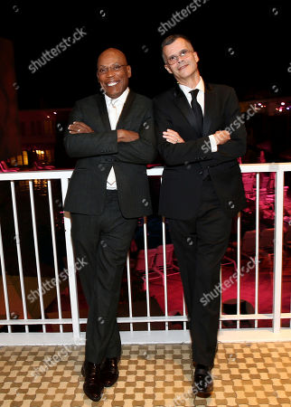 Paris Barclay, president of the Directors Guild of America, left, and Christopher Mason attend the 28th Annual Producers Guild Awards at the Beverly Hilton, in Beverly Hills, Calif