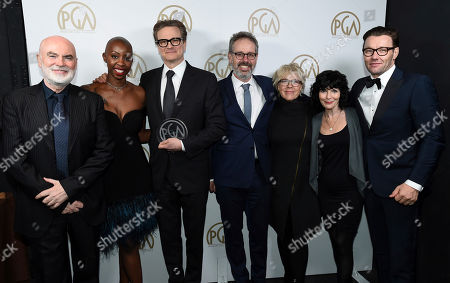 "Ged Doherty, from left, Oge Egbuonu, Colin Firth, Peter Saraf, Sarah Green, Nancy Buirski, winners of the Stanley Kramer award for ""Loving"", and Joel Edgerton attend the 28th Annual Producers Guild Awards at the Beverly Hilton, in Beverly Hills, Calif"