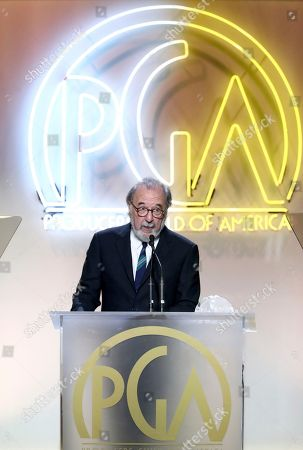 James L. Brooks accepts the Norman Lear achievement award at the 28th Annual Producers Guild Awards at the Beverly Hilton, in Beverly Hills, Calif
