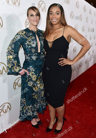 Lauren Beck, left, and Kimberly Steward arrive at the 28th Annual Producers Guild Awards at the Beverly Hilton, in Beverly Hills, Calif