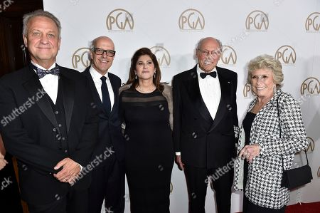Stock Image of Vance Van Petten, from left, Donald De Line, Amy Pascal, Irwin Winkler and Margo Winkler arrive at the 28th Annual Producers Guild Awards at the Beverly Hilton, in Beverly Hills, Calif