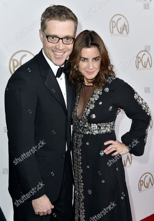 Angus MacLane, left, and Lindsey Collins arrive at the 28th Annual Producers Guild Awards at the Beverly Hilton, in Beverly Hills, Calif