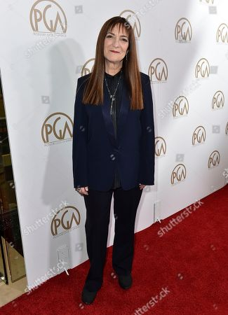 Osnat Shurer arrives at the 28th Annual Producers Guild Awards at the Beverly Hilton, in Beverly Hills, Calif