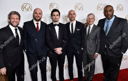 Gary Gilbert, from left, Jordan Horowitz, Damien Chazelle, Fred Berger, Marc Platt, and Kenya Barris arrive at the 28th Annual Producers Guild Awards at the Beverly Hilton, in Beverly Hills, Calif